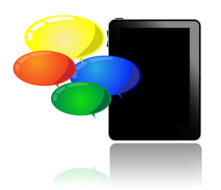 Tablet pc with colorful balloons Vector