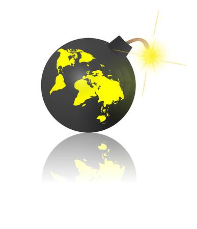 End of the world. Bomb with earth map Vector