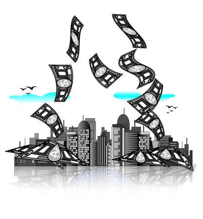 Skyline van de stad met geld rekeningen. Moderne economie