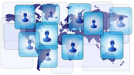 Several persons in social media network on world map Vector