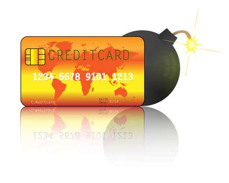 credit card debt: Credit card with bomb. Credit card debt Illustration