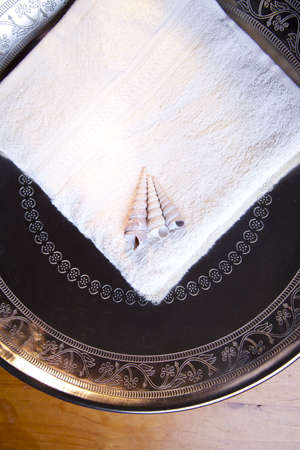 Luxury towel with shells in silver scale on wooden table Stock Photo - 11929573