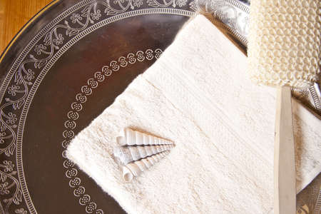 Luxury bath or shower set with towel, brush and shells on silver scale photo
