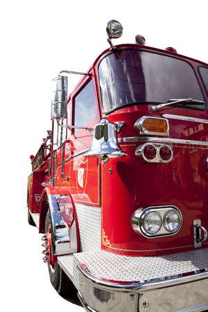 camion pompier: Face avant d'un camion vieux feu isolé sur blanc Banque d'images