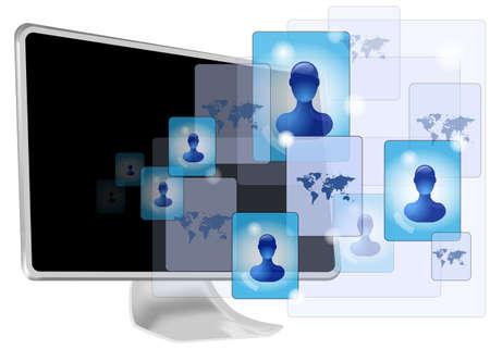 global networking: equipo con los medios sociales Vectores