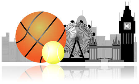 London skyline with tennis ball and basket ball. Sport in London Vector