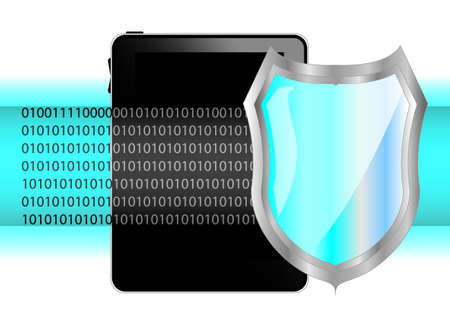Tablet pc with shield. Protection of data on tablet Stock Vector - 12488787