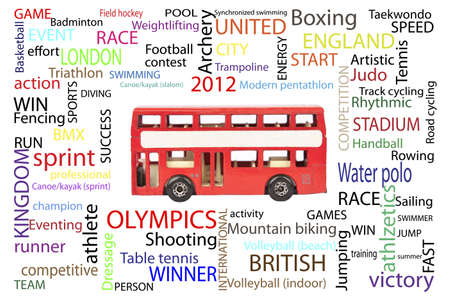 London bus with sports words