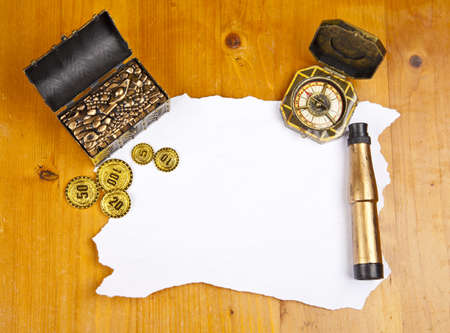 Pirate blank map with treasure, compass and binocular photo