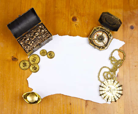 treasure hunt: Pirate blank map with treasure, coins, medal and ring Stock Photo