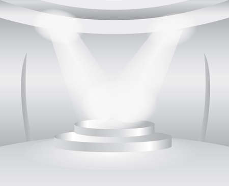 featured: Round white room with stage for exhibition product