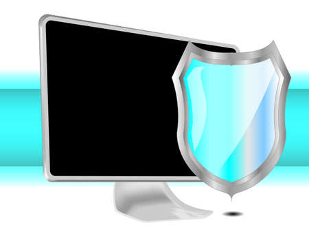 Computer with blue shield for protection Vector