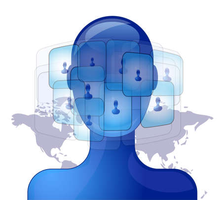 Blue person with international friends on social media