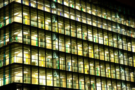 View at office with windows at night Stock Photo