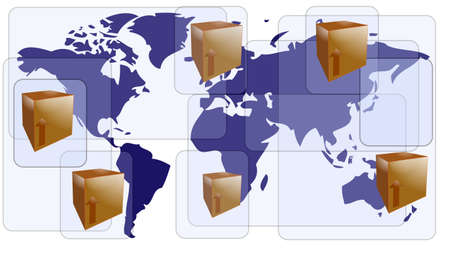 World map with boxes for international shipment Illustration