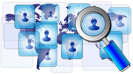 World map with glass and persons. Finding friends online Vector