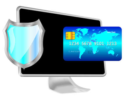 Computer with shield and credit card. Protected online payment Vector