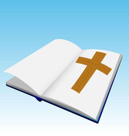 bible ouverte: Bible avec des pages blanches et croix de bois Illustration