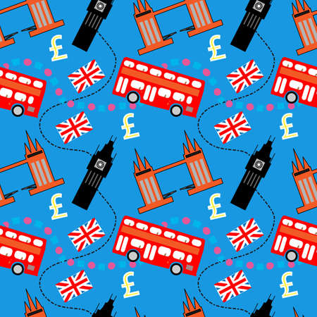 big ben tower: Seamless pattern of London buildings and items