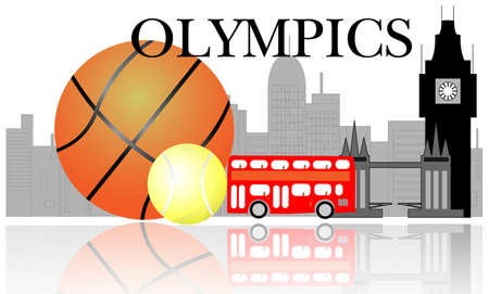 olympic symbol: London skyline with sport items