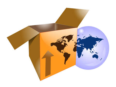 Cardboard shipping box with word map for international shipping Vector