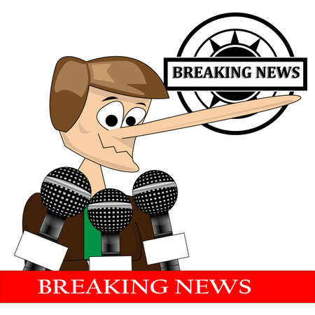 Press conference with person making a lie with breaking news Stock Vector - 13760385