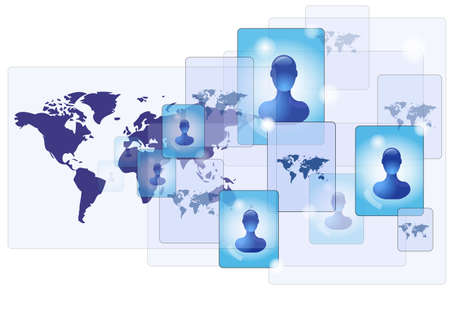 World map with communication network and friends Stock Vector - 13855404