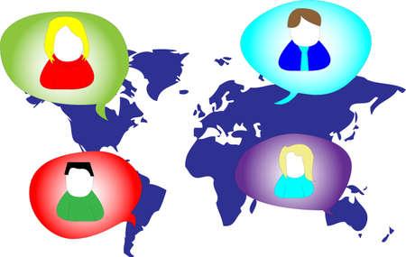 linkedin: Several persons in social media network on world map Illustration