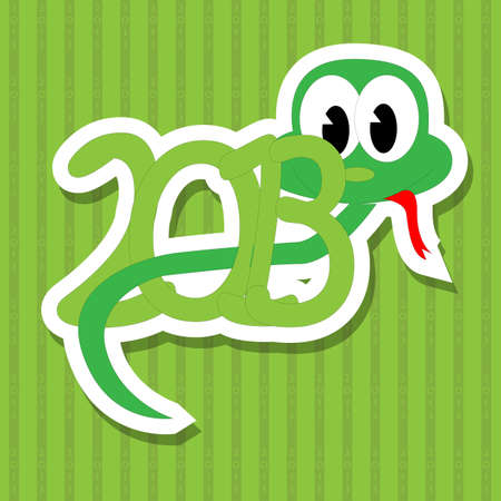 2013 year of the snake with green background Vector
