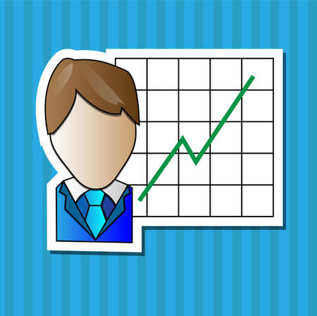 Business man with positive graph with blue background Vector