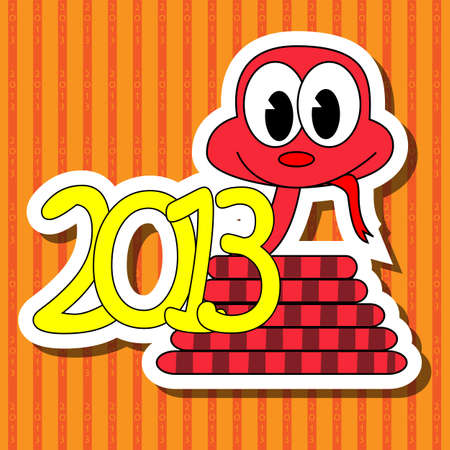 2013 year of the snake with red background Vector