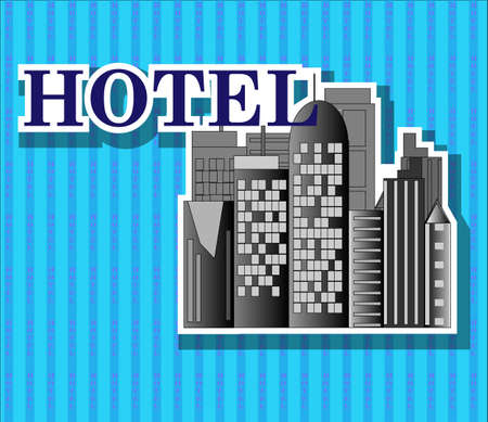 Black hotel buildings with blue background Vector