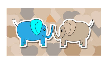 Blue and pink elephant with hearts background Vector