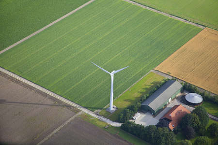 Farm landscape with windmill  from above, The Netherlands photo
