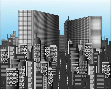Office buildings in huge city Stock Vector - 14936228