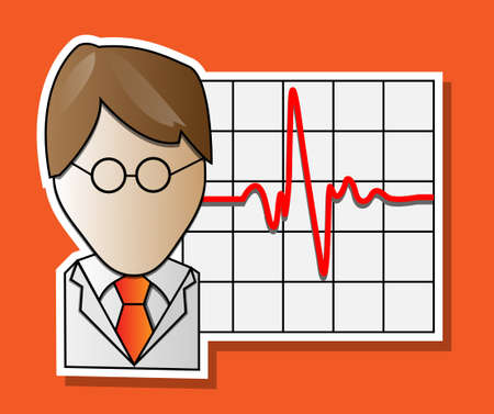 Doctor and graph with red heartbeat Vector