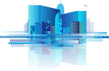 Blue office buildings in huge city Vector