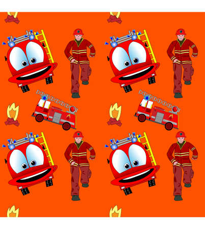 engine fire: Seamless pattern with fire man and fire truck Illustration