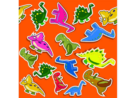 Funny dino seamless pattern with red background Vector