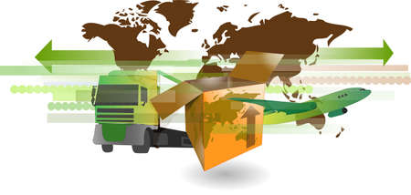 Cardboard shipping box with truck, airplane and world map for international shipping