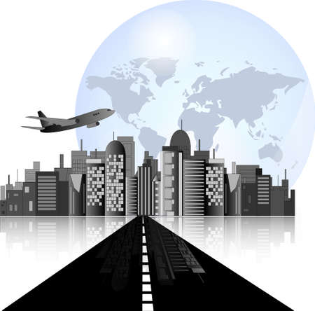 City skyline with road, airplane and earth background for international business Vector