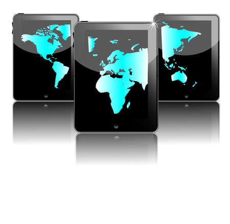 Three black tablet pc's with blue world map Stock Vector - 15835636