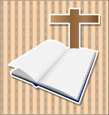 Bible with brown cross card Vector