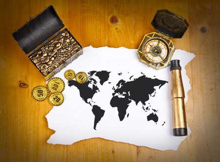treasure hunt: Pirate world map with treasure, compass and binocular