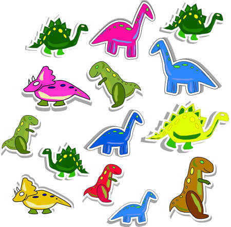 Several colorful dinos isolated on white Vector
