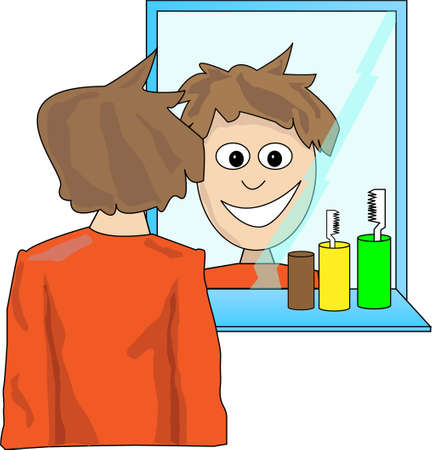 face wash: Young man looking in the mirror
