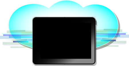 Black computer tablet with blue wireless cloud symbol Stock Vector - 18593143