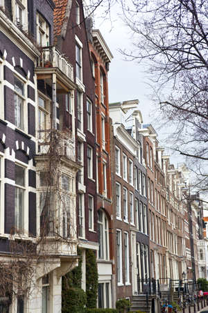 Typical Dutch houses in Amsterdam, The Netherlands photo