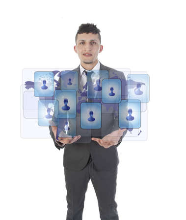 Young man holding social media symbols isolated on white photo