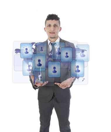Young man holding social media symbols isolated on white Stock Photo - 19225480